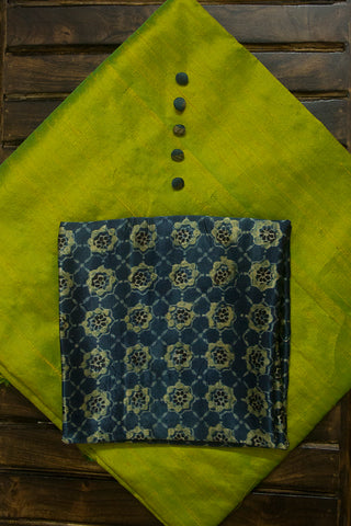 Double Shaded Yellowish Green Plain Raw Silk Fabric with Trims