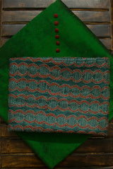 Green Ikat Silk Fabric with Trims