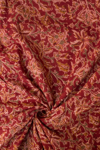Reddish Maroon Block Printed Kalamkari Fabric