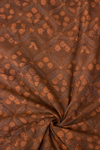 Orangish Brown Small Floral Block Printed Cotton Fabric