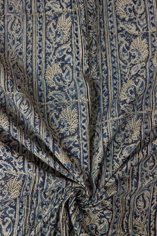 Dark Blue Floral Block Printed Kalamkari Fabric