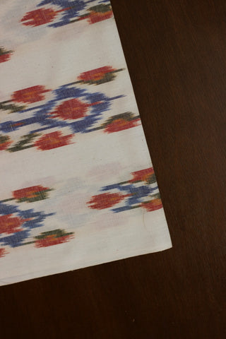 Blue and Red in White Handwoven Ikat Fabric