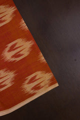 Orange with Beige Handwoven Ikat Fabric-1.8m