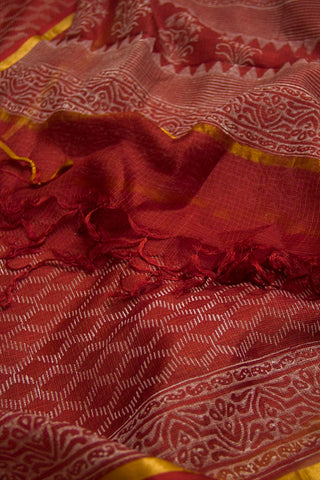 Pinkish Maroon with Off White Diamond Kota Silk Dupatta