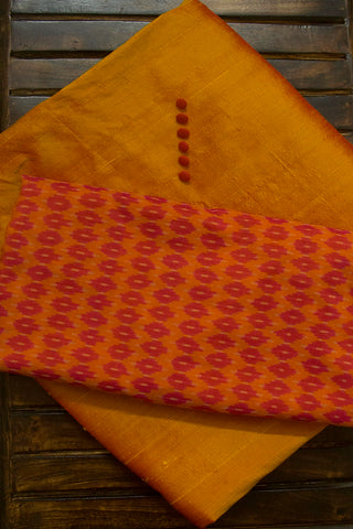 Golden Yellow Plain Raw silk Fabric with Trims