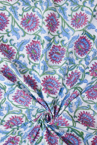 Dark Pink with Blue Daisy Flower Sanganeri Hand Block Printed Fabric - 0.7m