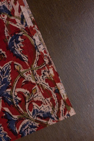 Maroon with Indigo Leaves Block Printed Kalamkari Fabric