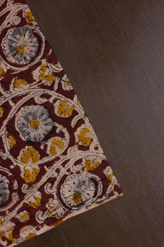 Maroon with Fenugreek Block Printed Kalamkari Fabric