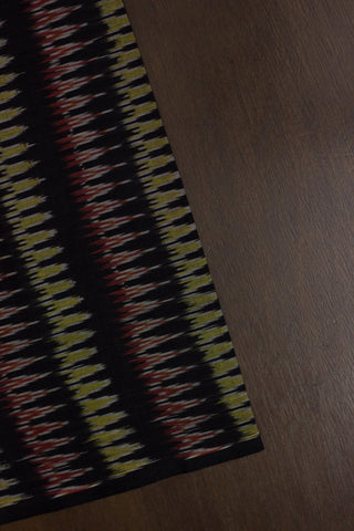 Black with red and yellow Mercerized handwoven ikat