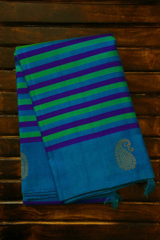 Blue and Green Lines Kanchi Silk Saree