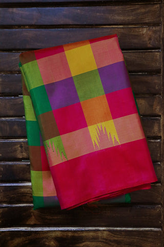 Multi Colour Checks Kanchi Pattu Silk Saree