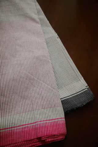 Pink & Black Checks on Off White Handwoven Cotton Fabric