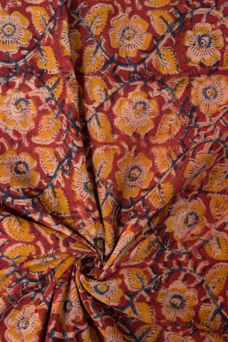 Fenugreek Floral Block Printed Kalamkari Fabric