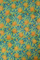 Green with Yellow Flower Sanganeri Hand Block Printed Fabric