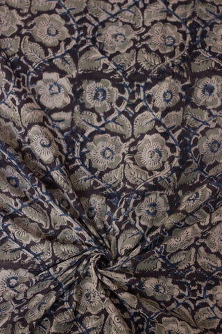 Elephant Grey Floral Block Printed Kalamkari Fabric