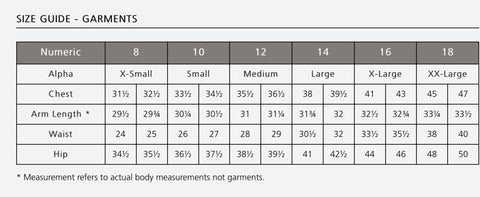 Noble Outfitters Ladies Wear Size Guide