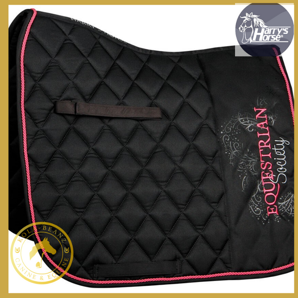 Harry Horse Luxury Jet Black DR Saddle Pad - Saddlecloths Saddle Pads