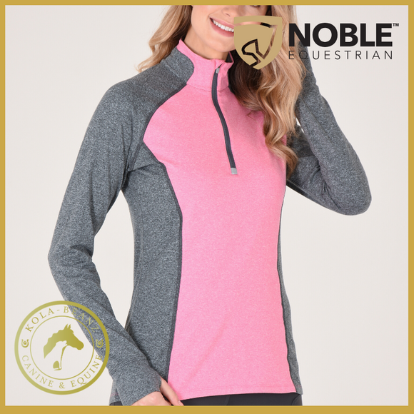 Noble Equestrian Athena 1/4 Zip - Pink/Charcoal