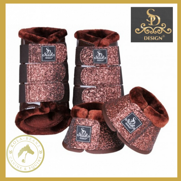 Sd® Glitter Brushing Boots - Brown (Set Of 4) - Horse Brushing Boots