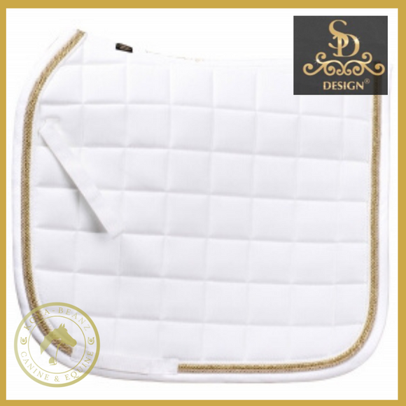 Sd® Dr Saddle Pad - White/gold - Saddlecloths Saddle Pads