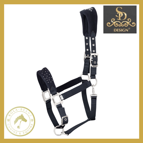 SD® Diamond Edition Crystal Headcollar - Onyx Black - Anatomic Headcollar