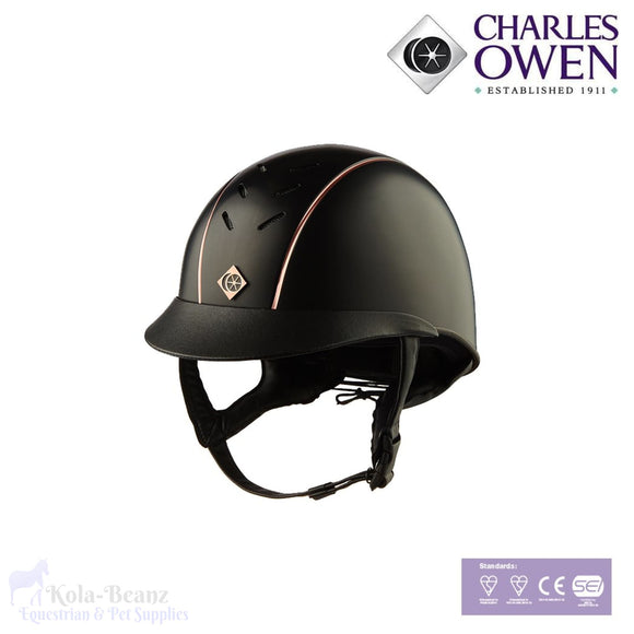Charles Owen Ayrbrush Rose Gold Pinstripe - Black - Riding Hat