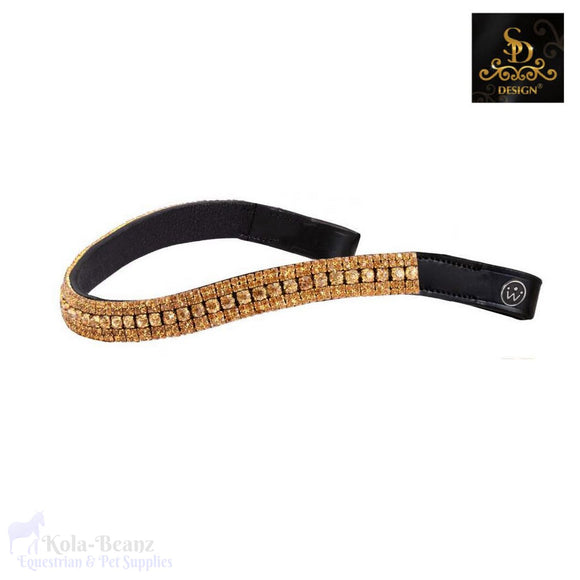 Crown Diamond Gold Browband - Black - Browband