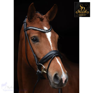 Crown Moon Dancer Rolled Bridle - Black/pony - Anatomic Bridles