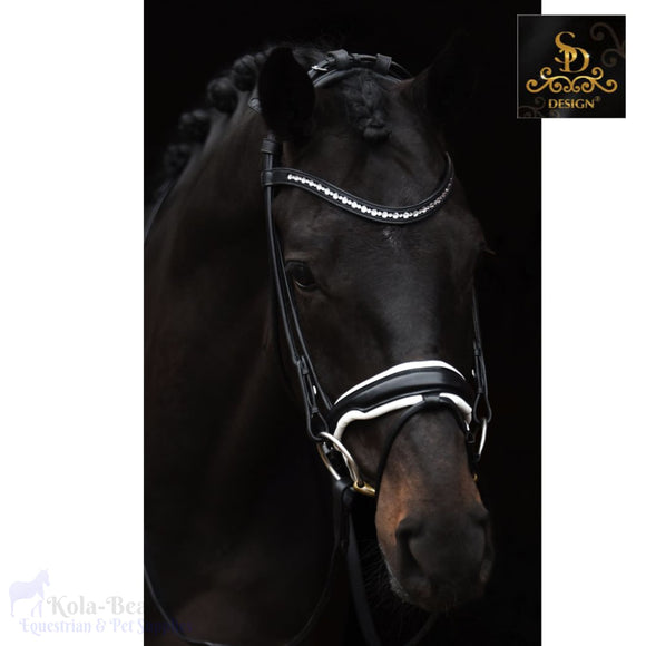 Crown Moon Dancer Rolled Bridle - Black/white - Anatomic Bridles