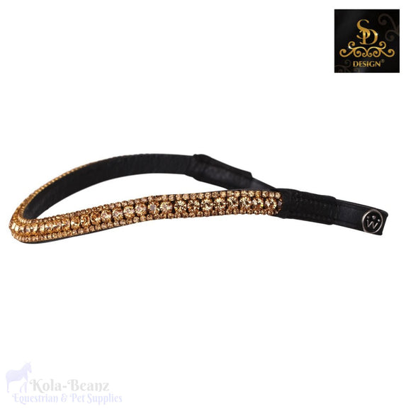 Crown Noble Gold Crystal Browband - Black - Browband