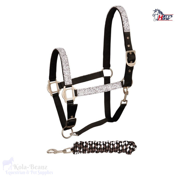 Harrys Horse Black Granite Headcollar Set - Head Collar Set