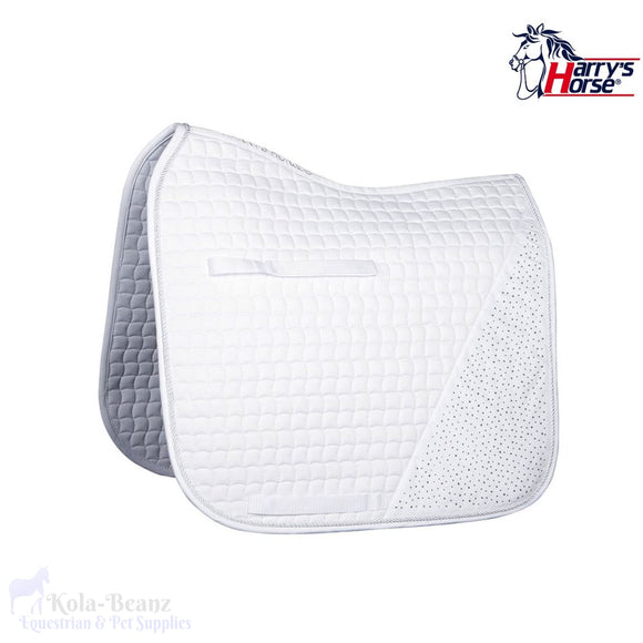 Harrys Horse White Diamanté Dr Saddle Pad - Saddlecloths Saddle Pads