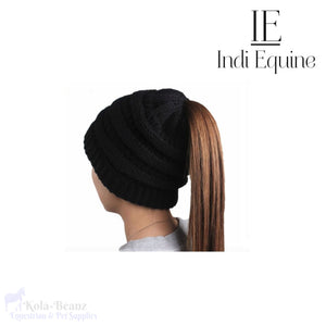 Indi Equine Cable Knit Pony Tail Beanie - Black - Ladies Beanie Hats