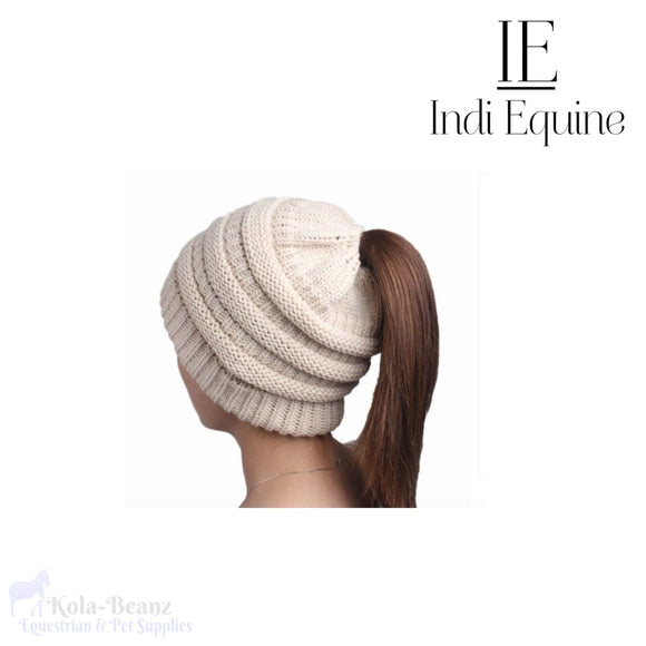 Indi Equine Cable Knit Pony Tail Beanie - Cream - Ladies Beanie Hats