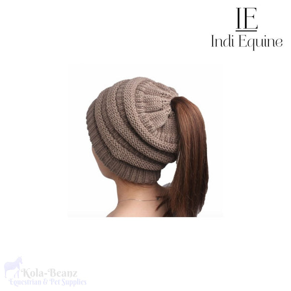 Indi Equine Cable Knit Pony Tail Beanie - Khaki - Ladies Beanie Hats