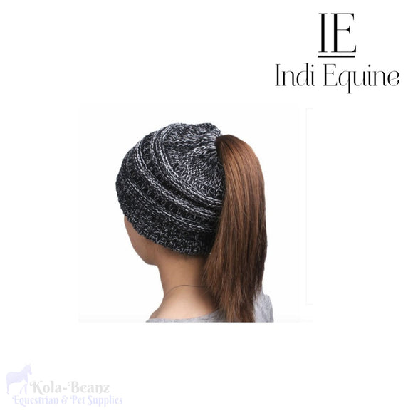 Indi Equine Cable Knit Pony Tail Beanie - Pepper - Ladies Beanie Hats