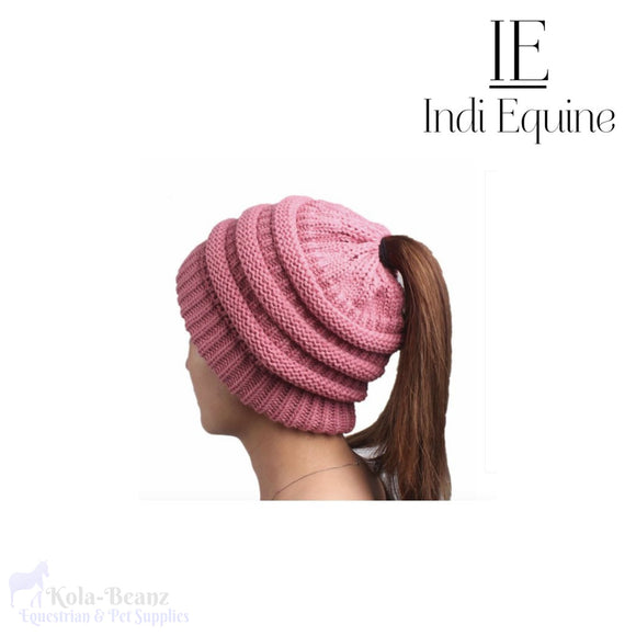 Indi Equine Cable Knit Pony Tail Beanie - Pink - Ladies Beanie Hats