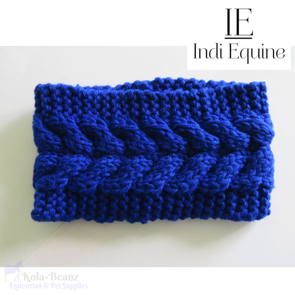 Indi Equine Knitted Headband / Ear Warmer - Blue - Ladies Headband