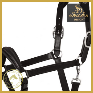 Crown Memory Foam Black Leather Headcollar