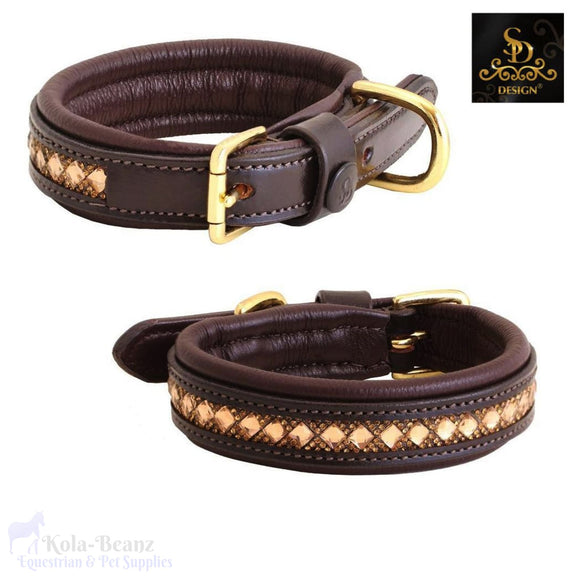 Sd® Azzaro Gel Dog Collar - Brown/gold - Dog Collars