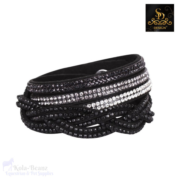 Sd® Crystal Double Braided Bracelet - Black - Ladies Bracelet