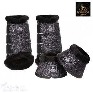 Sd® Glitter Boot Set - Black (6 Piece Set) - Horse Brushing Boots