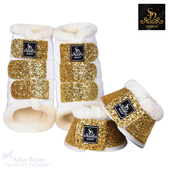 Sd® Glitter Boot Set - White/gold (6 Piece Set) - Horse Brushing Boots