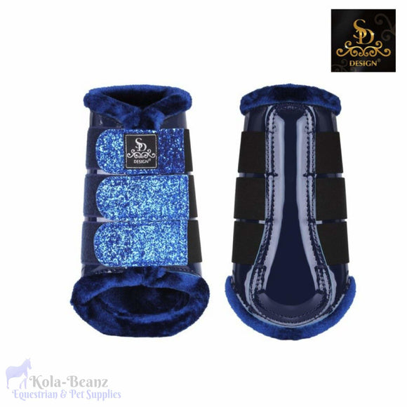 Sd® Glitter Brushing Boots - Navy - Front Boots - Horse Brushing Boots