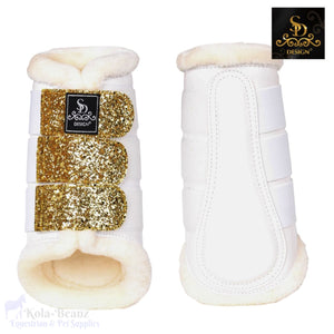 Sd® Glitter Brushing Boots - White/gold - Hind Boots - Horse Brushing Boots