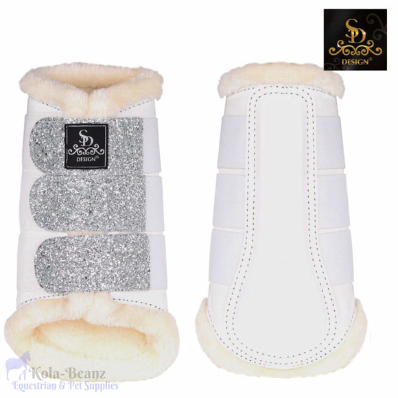 Sd® Glitter Brushing Boots - White/silver - Front Boots - Horse Brushing Boots