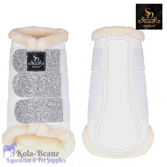SD® Glitter Brushing Boots - White/Silver (set of 4) - Horse Brushing Boots