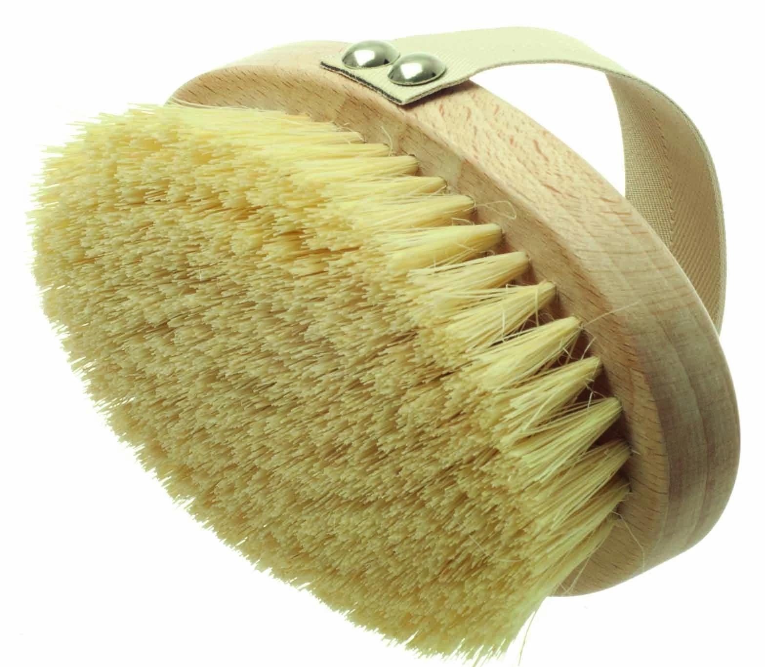 Curved Dry Skin Brush with Handle - Natural Bristle - anatomé