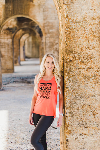 She Works Hard and Makes Her Arms Strong Flowy Tank - Cross Training Couture