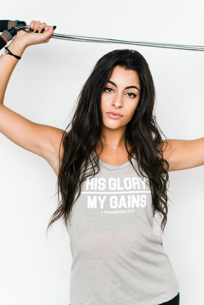 His Glory Over My Gains Muscle Tank - Cross Training Couture